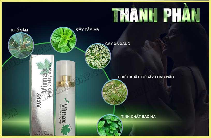 Chai xịt Vimax Delay Spray với các thành phần tự nhiên